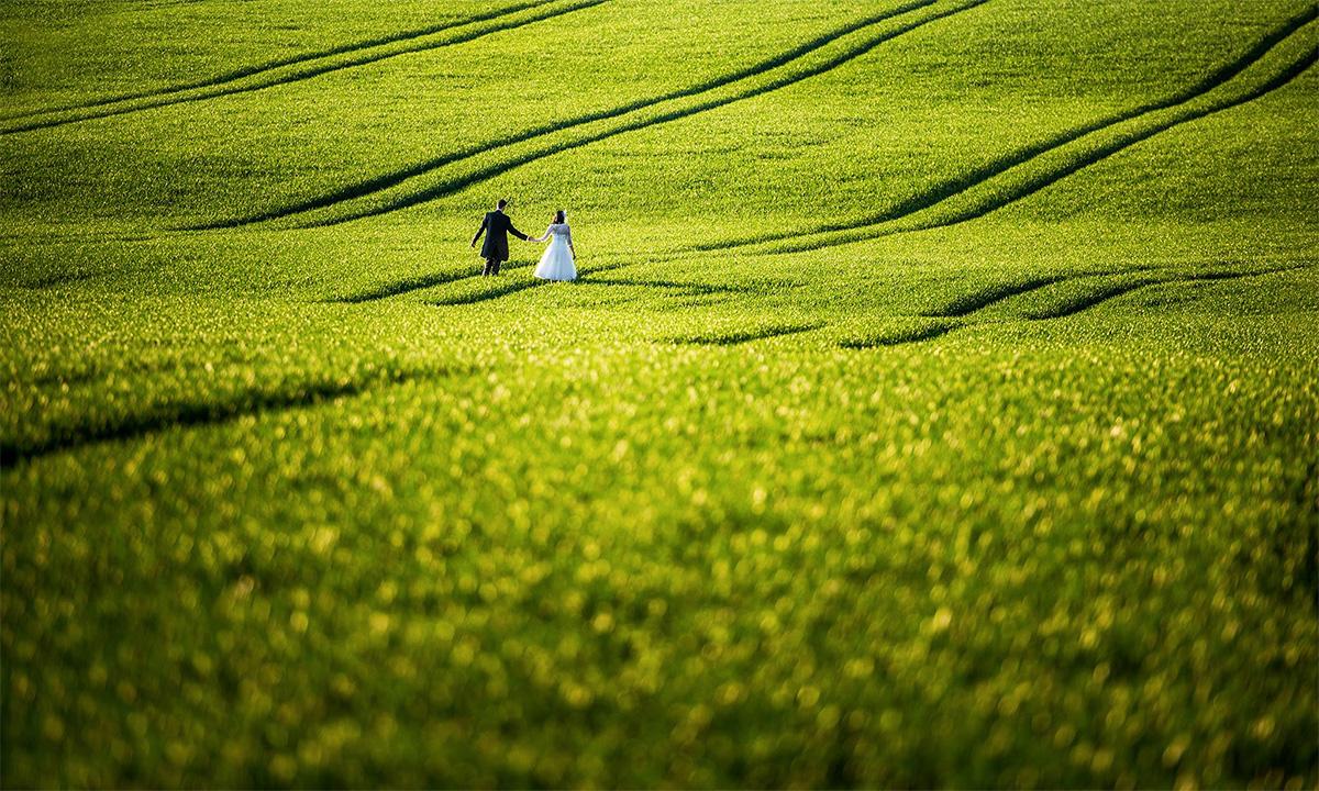 Hochzeitsfoto in weitläufiger Landschaft